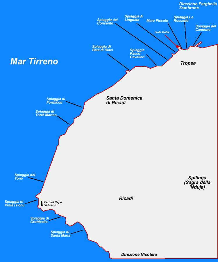 Mappa Spiagge di Tropea e dintorni