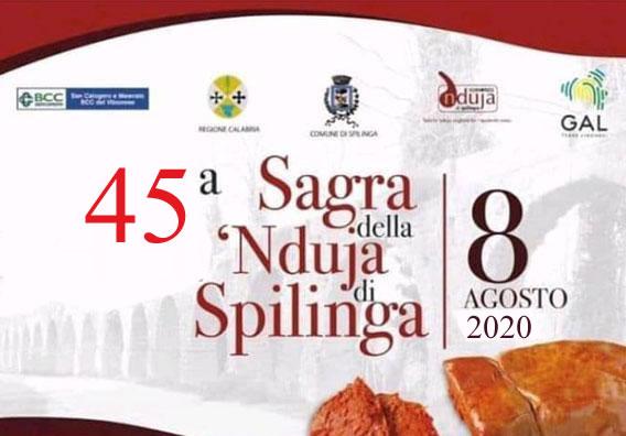 45 edizione della Sagra della Nduja di Spilinga 8 Agosto 2020 locandina