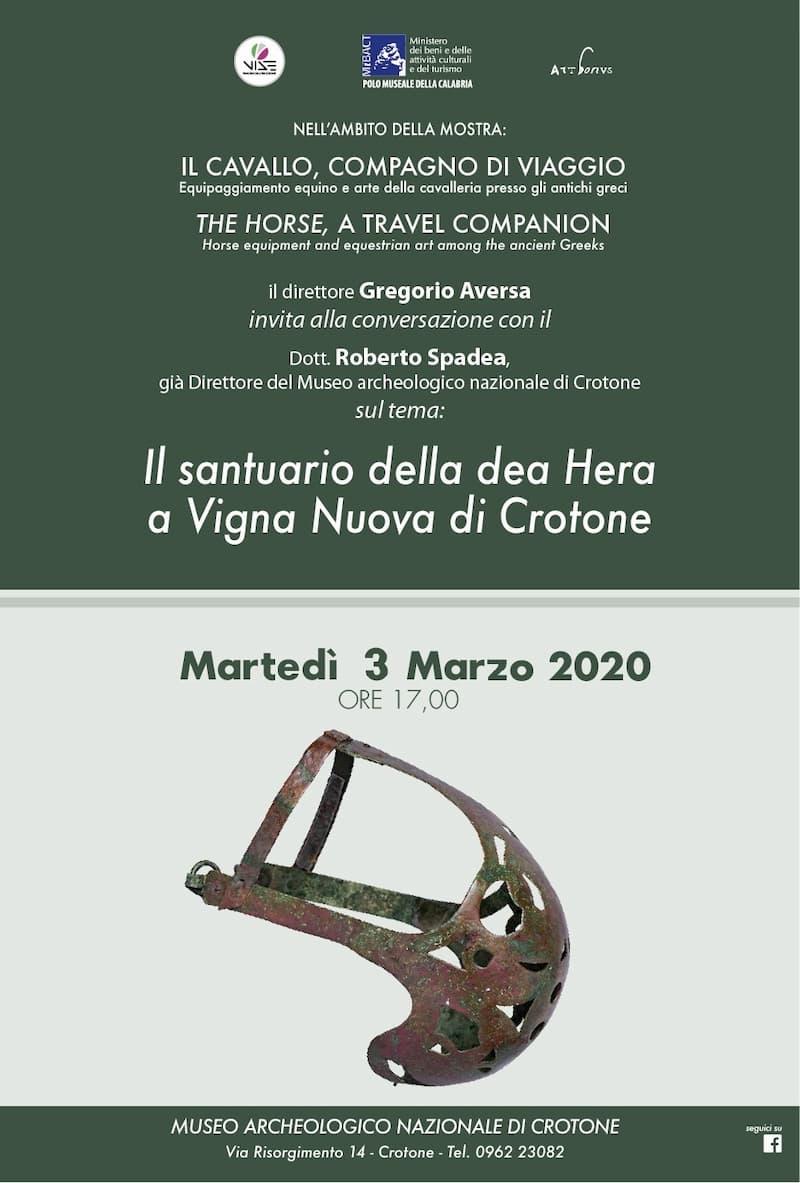 Il santuario della dea Hera a Vigna Nuova di Crotone al Museo nazionale archeologico di Crotone 3 marzo 2020 locandina