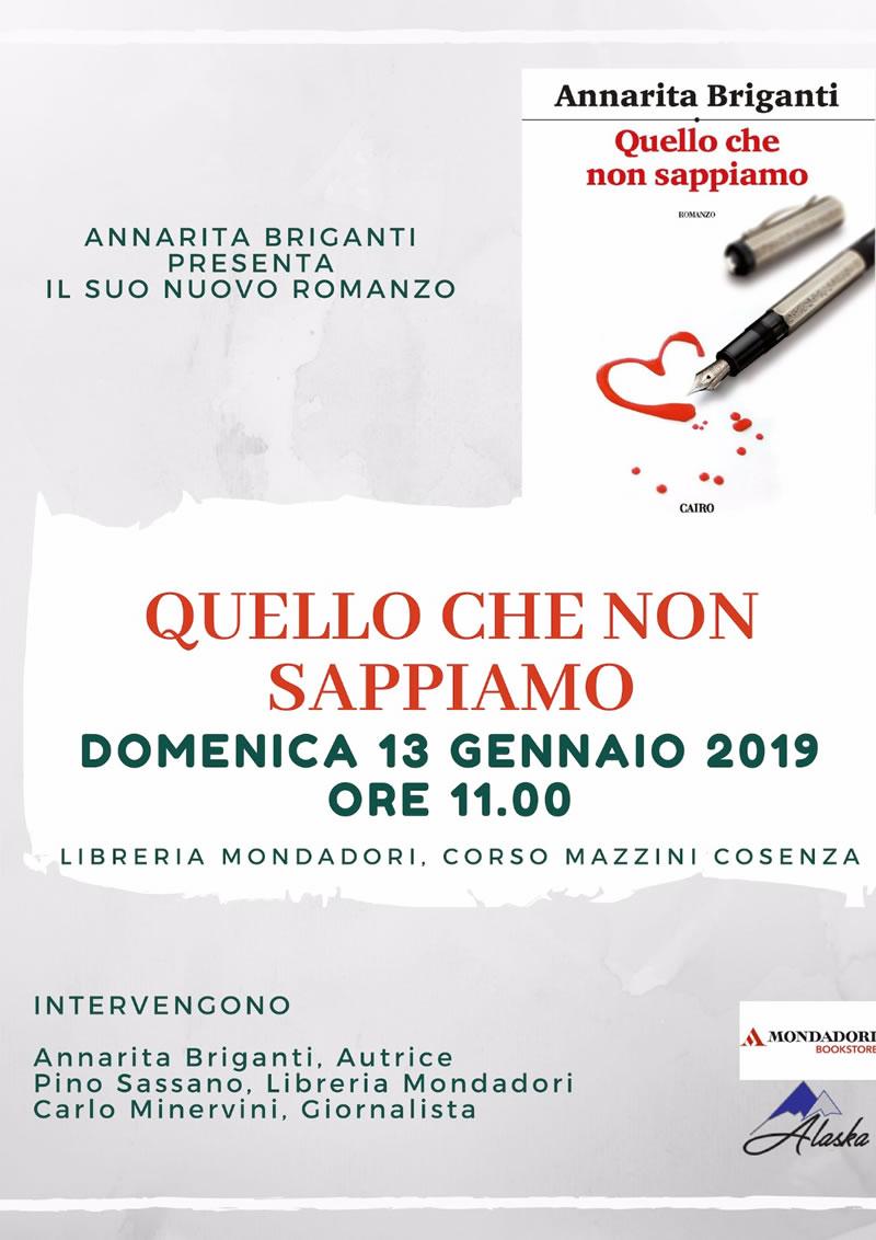 Locandina presentazione libro Quello che non sappiamo di Annarita Briganti a Cosenza il 13 gennaio 2019