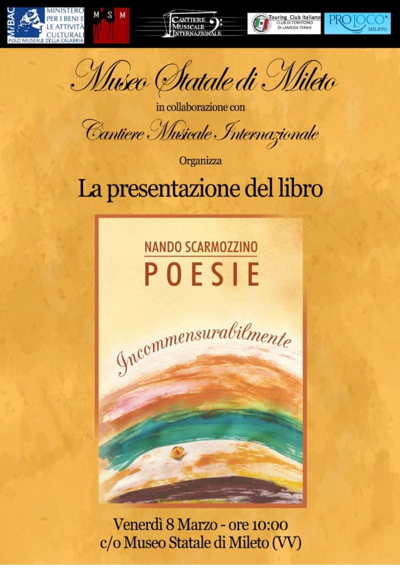 Presentazione libro Incommensurabilmente 8 marzo 2019 Museo Statale di Mileto locandina