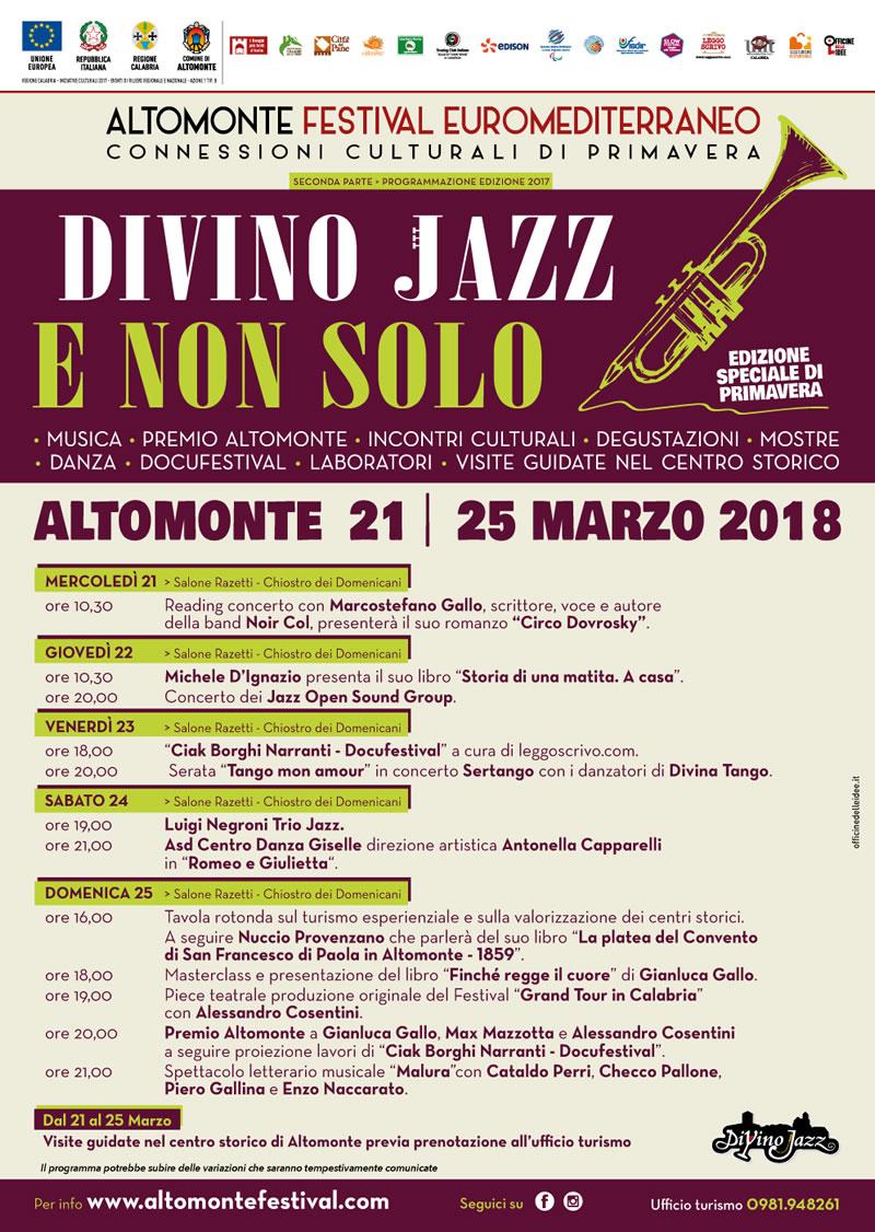 Altomonte Divino Jazz e non solo - Connessioni culturali di Primavera dal 21 al 25 marzo locandina