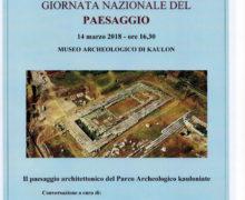 Giornata nazionale del Paesaggio 2018 Museo Archeologico e Parco Archeologico dell'antica Kaulon di Monasterace locandina