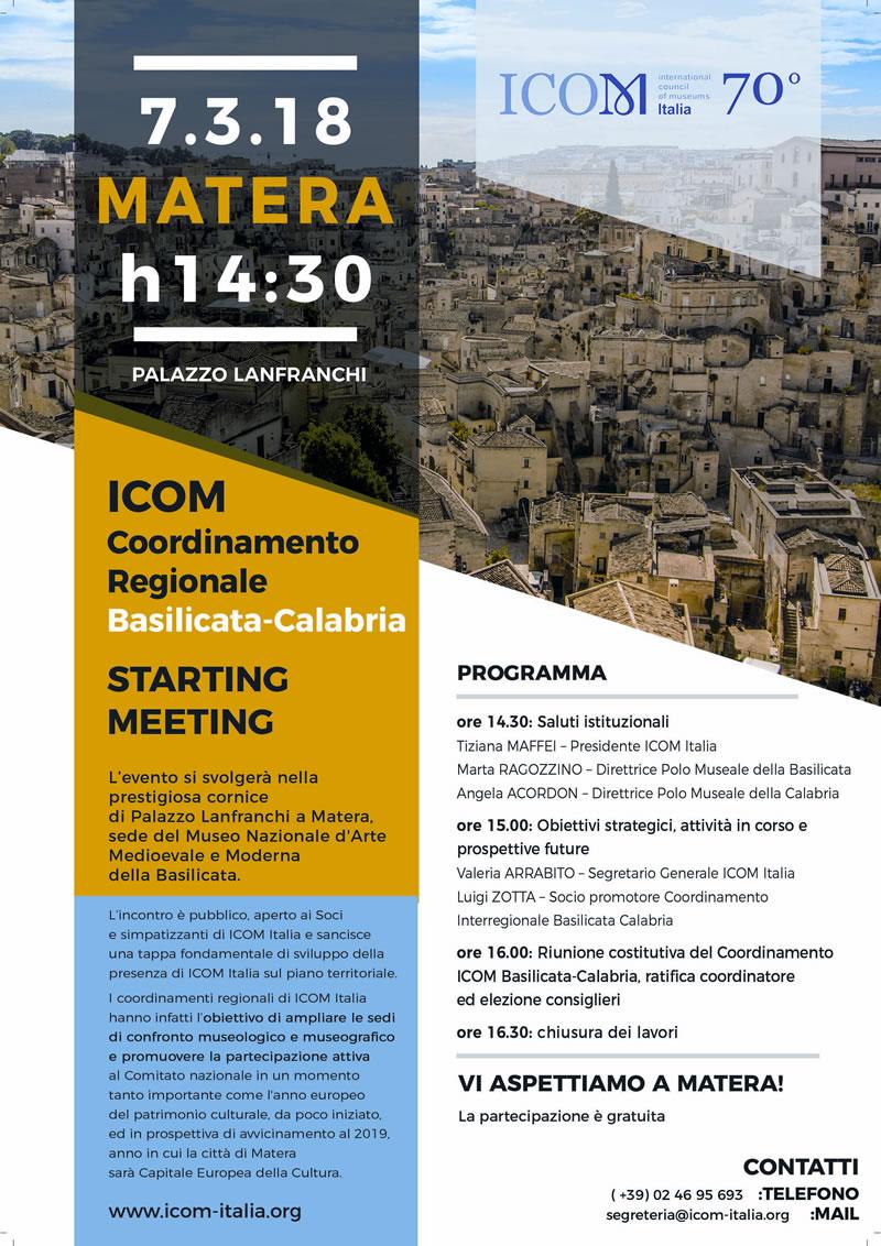 ICOM - Avvio coordinamento interregionale Basilicata locandina