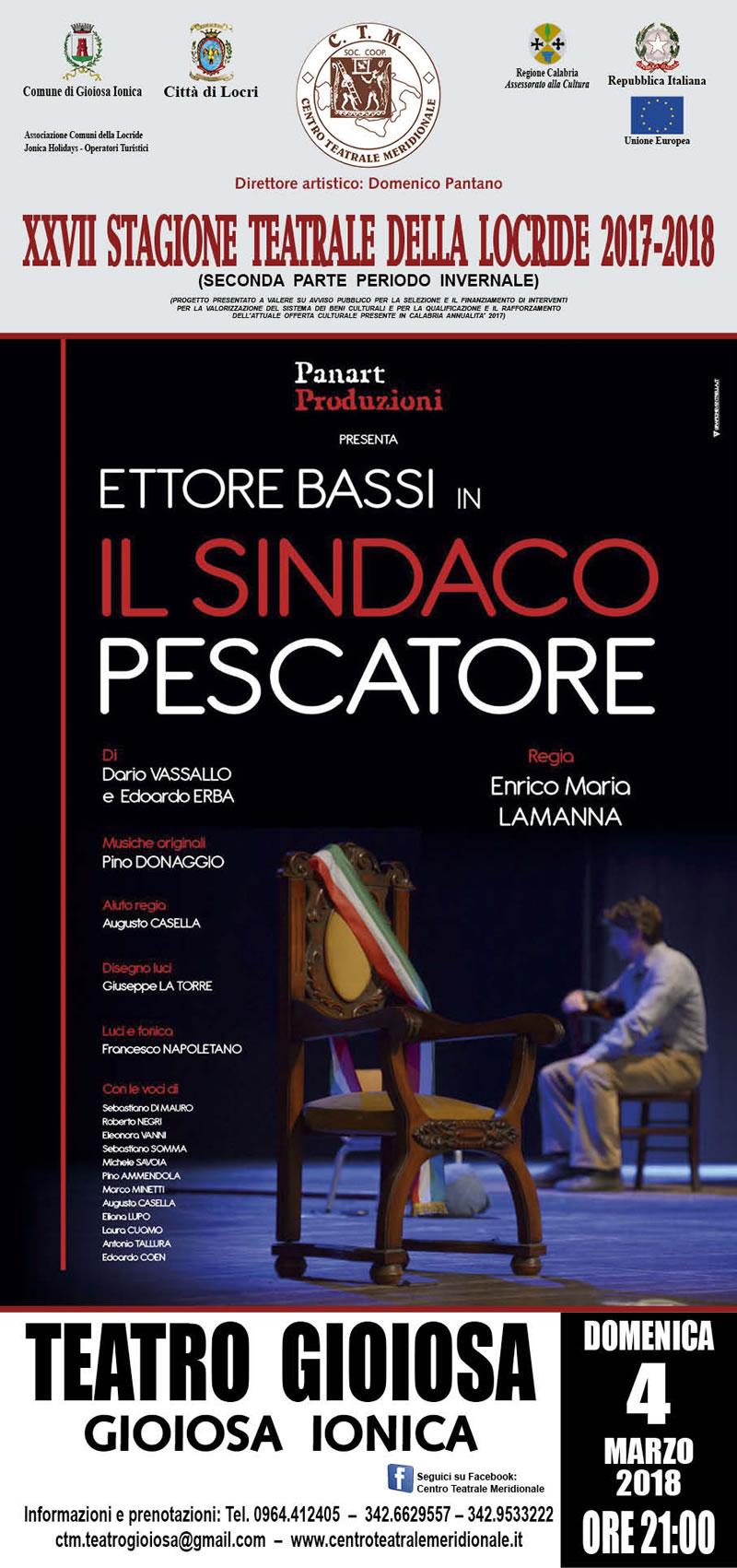 IL SINDACO PESCATORE 2018 Teatro Gioiosa locandina
