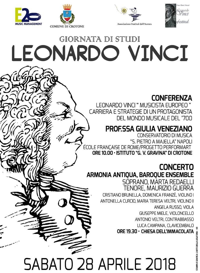 Giornata di studi e musica Leonardo Vinci 2018 locandina