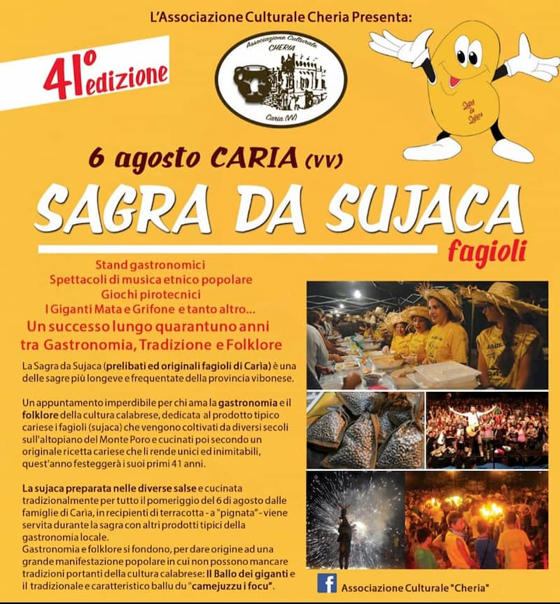 41 edizione Sagra da Sujaca Caria di Drapia 6 agosto 2019 locandina