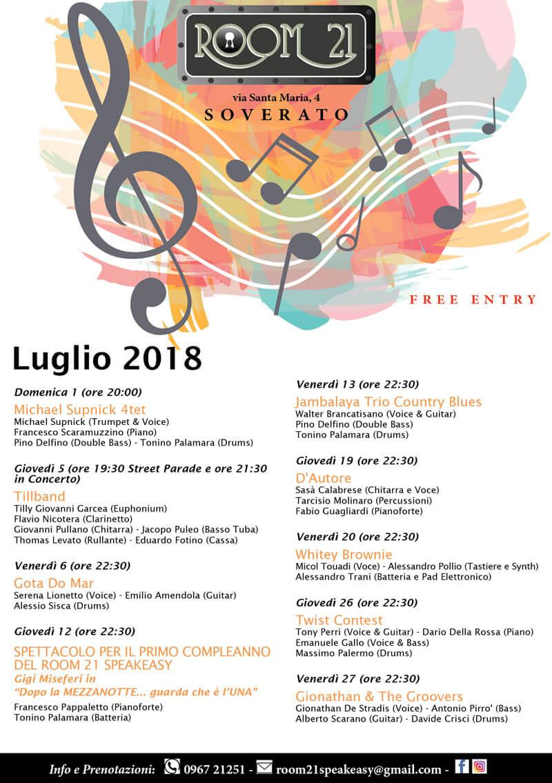 LIVE MUSIC ROOM 21 SOVERATO - PROGRAMMA LUGLIO 2018 locandina