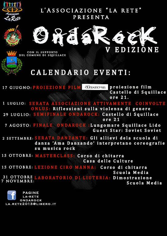 ONDAROCK 2018 calendario a Squillace locandina