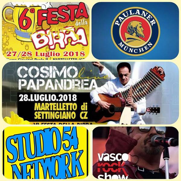 Vasco Rock Show live Festa della Birra a Martelletto di Settingiano 2018 locandina