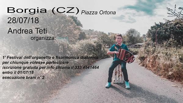 1' Festival dell'organetto e fisarmonica diatonica 28 luglio 2018 a Borgia