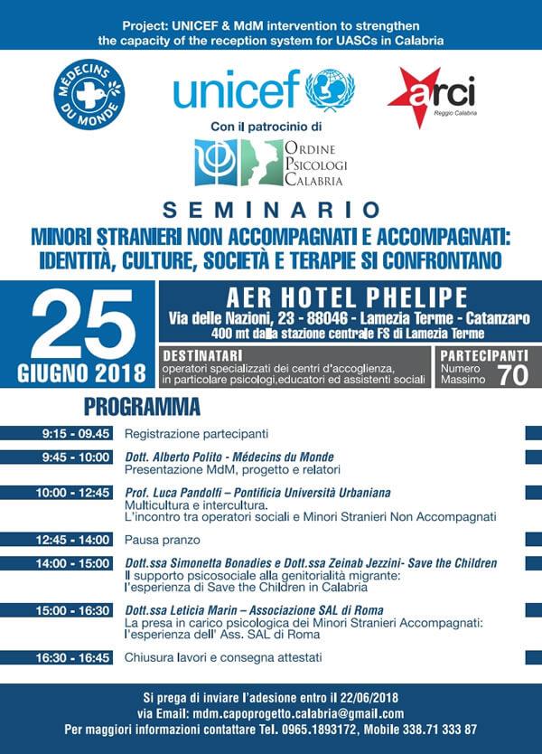 Seminario minori stranieri non accompagnati e accompagnati 25 giugno 2018 a Lamezia Terme locandina