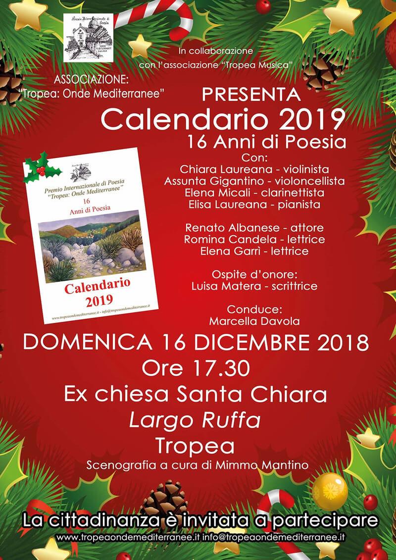Tropea Onde Mediterranee presentazione Calendario 2019 16 dicembre 2018