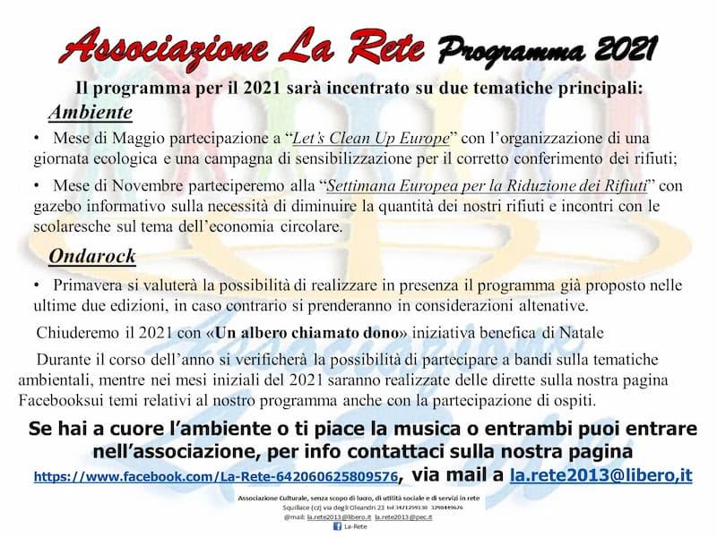 associazione La Rete locandina programma