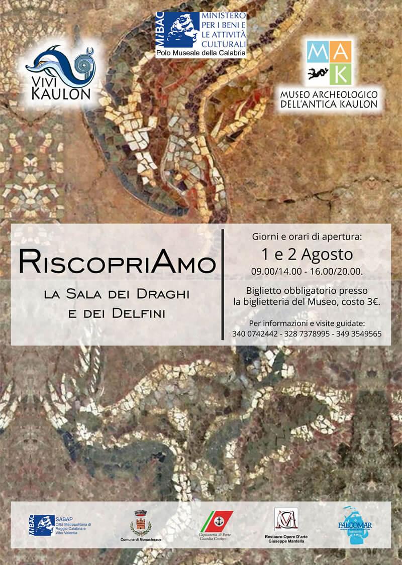 Apertura del Mosaico pavimentale de La Sala dei draghi e dei delfini locandina