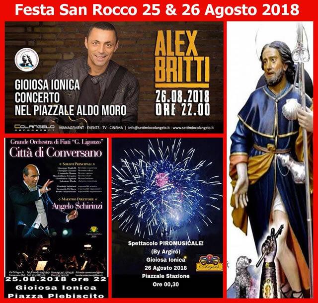 Festa di San Rocco a Gioiosa Ionica il 25 e 26 Agosto 2018 locandina