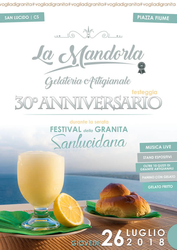 Festival della granita Sanlucidana 26 luglio 2018 San Lucido locandina