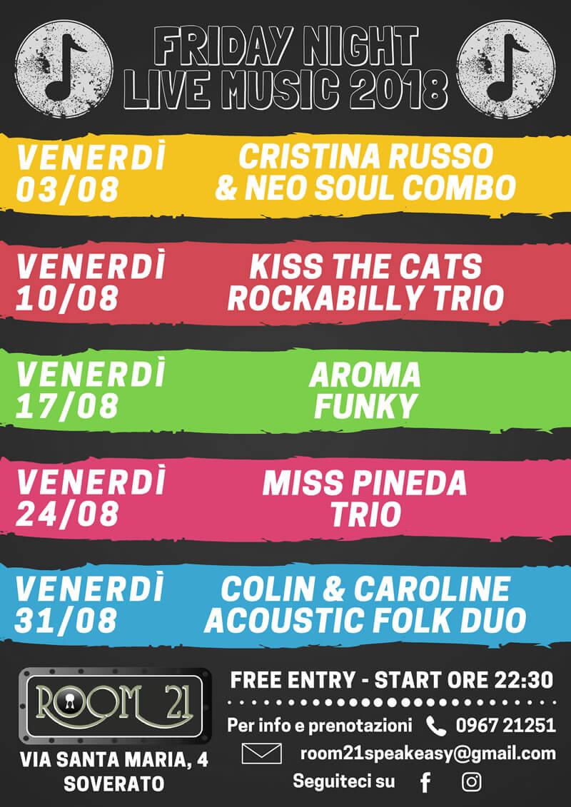 Friday night live music Room 21 AGOSTO 2018