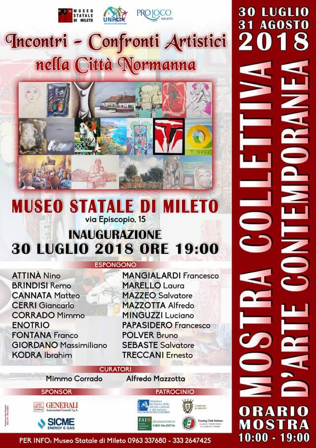 Incontri – confronti artistici nella città normanna a Mileto 30 luglio al 31 agosto 2018 locandina