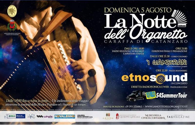 La Notte dell'Organetto 5 agosto 2018 a Caraffa di Catanzaro locandina