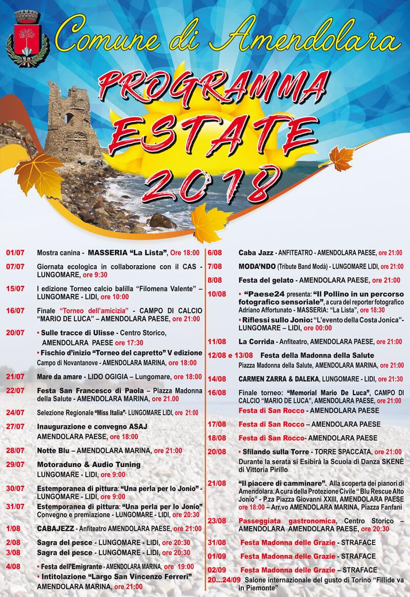Programma eventi estate 2018 ad Amendolara locandina