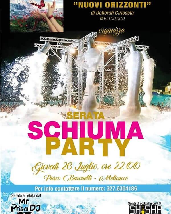 Schiuma party 26 luglio 2018 Melicucco locandina