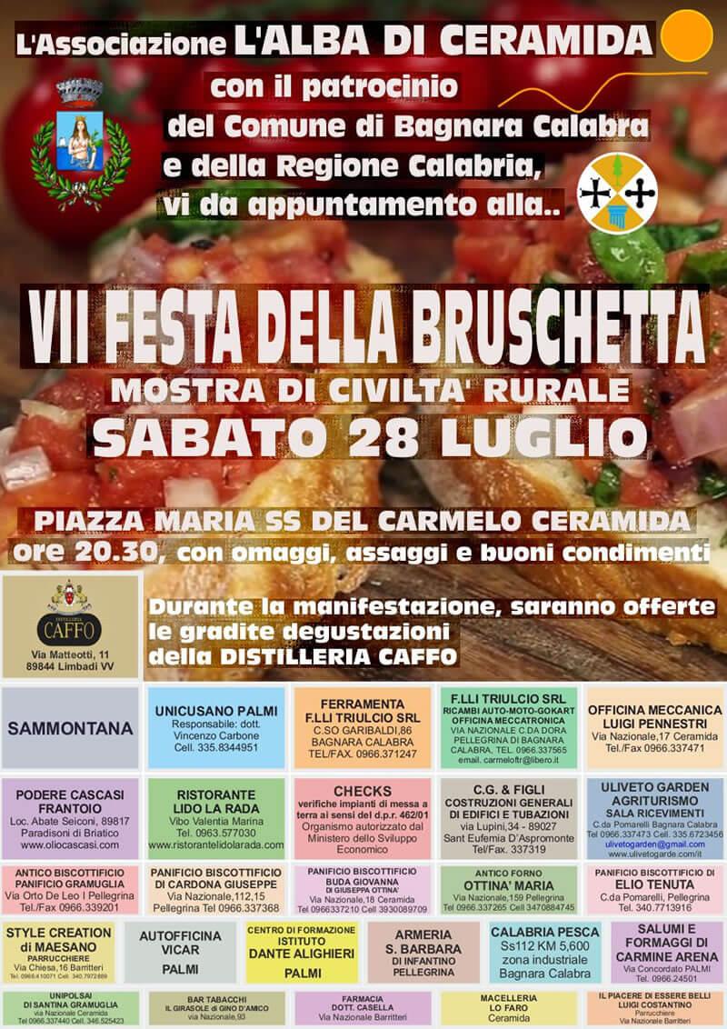 VII Festa della Bruschetta a Ceramida di Bagnara Calabra 28 luglio 2018 locandina