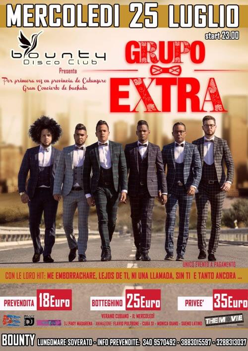 serata latina gruppo EXTRA 25 luglio 2018 a Soverato locandina
