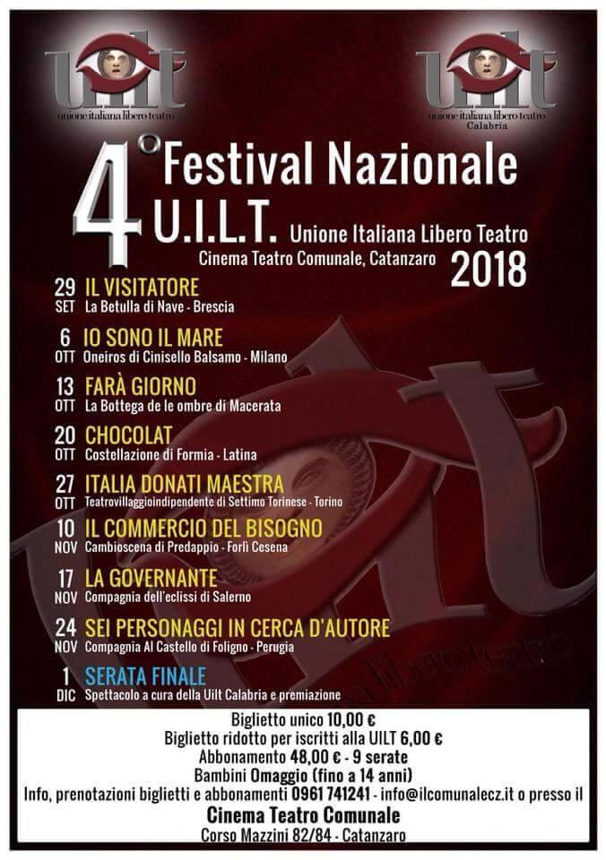 4 Festival Nazionale UILT a Catanzaro dal 29 Settembre al 1 Dicembre 2018 locandina