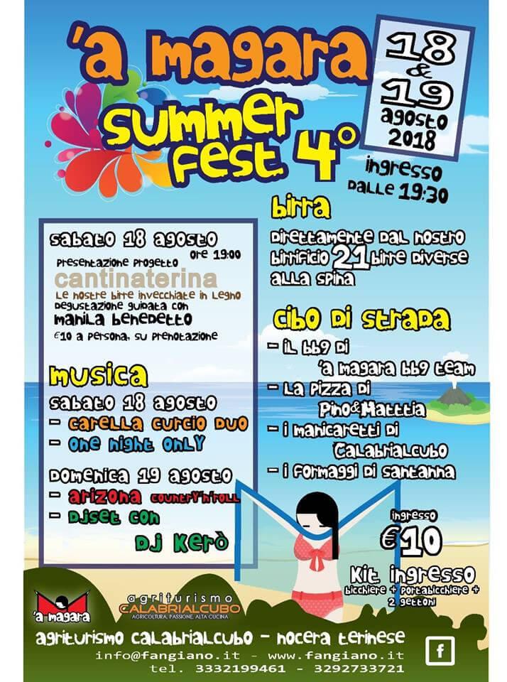 A Magara Summer Fest 18 e 19 Agosto 2018 a Nocera Terinese locandina