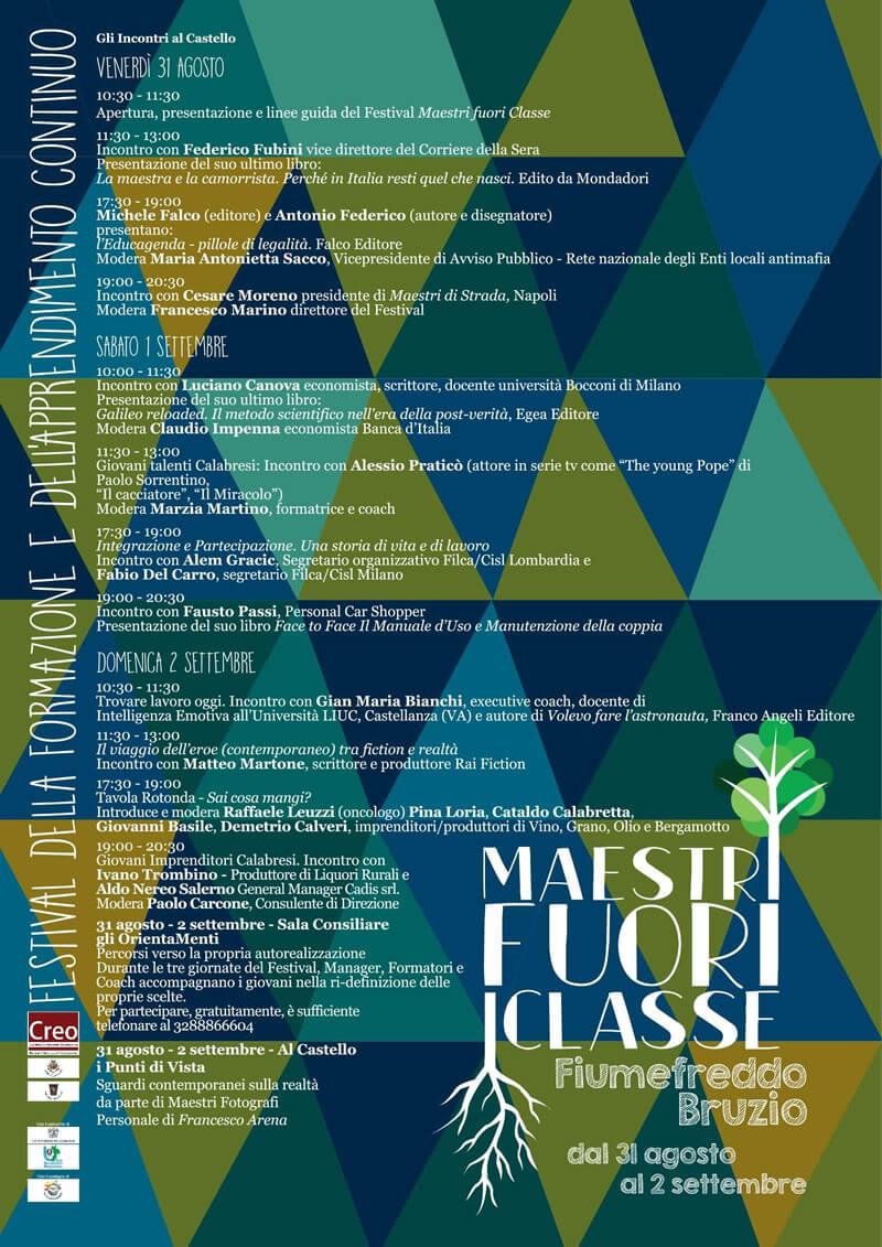 Festival Maestri Fuori Classe, 31 agosto 2 settembre 2018 Fiumefreddo Bruzio locandina