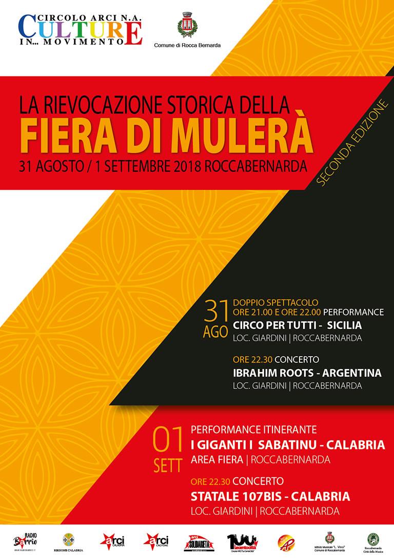 La rievocazione storica della Fiera di Mulerà 31 agosto 1 settembre 2018 a Roccabernarda locandina