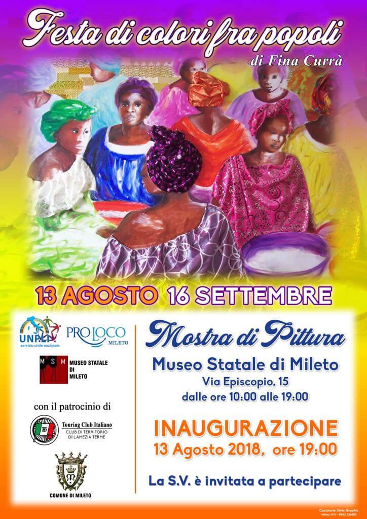 Mostra di pittura - Festa di colori fra popoli 13 agosto 16 settembre 2018 Mileto locandina