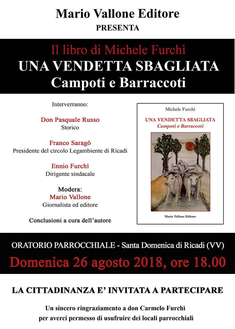 Presentazione libro Una vendetta sbagliata di Michele Furchì 26 agosto 2018 a Santa Domenica di Ricadi locandina