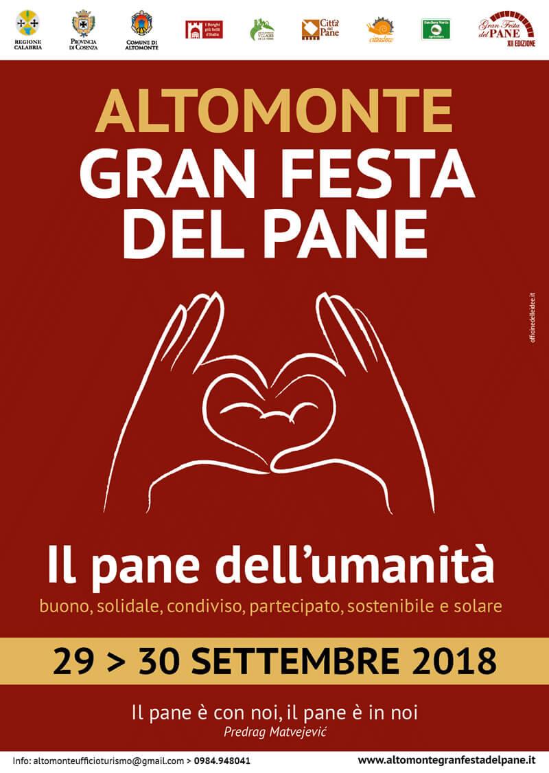 Altomonte Gran Festa del Pane 29 e 30 settembre 2018 locandina