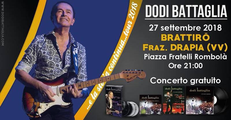 Dodi Battaglia Tour 2018 - Brattirò 27 settembre 2018 locandina