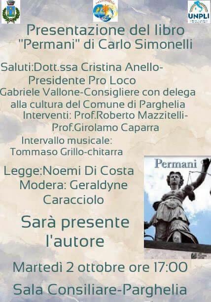 Presentazione del romanzo Permani di Carlo Simonelli 2 ottobre 2018 locandina