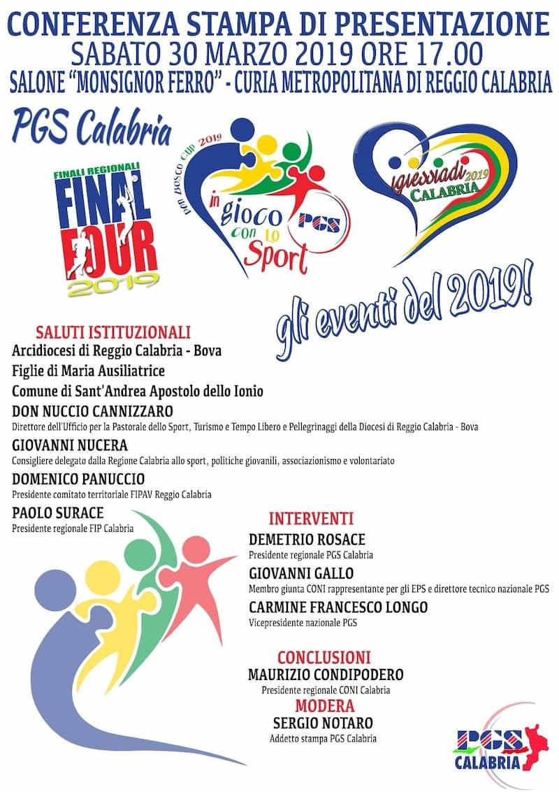 Presentazione eventi sportivi PGS Calabria 30 marzo 2019 a Reggio Calabria