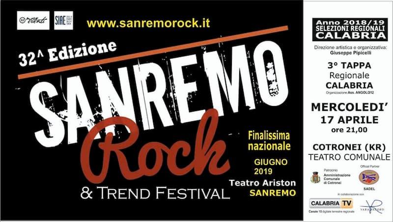 Live Tour Sanremo Rock Finale Regionale Calabria 17 aprile 2019 a Cotronei