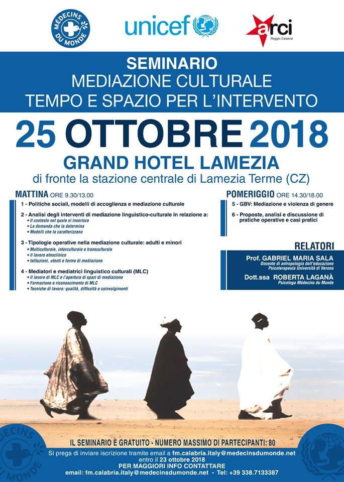 Seminario mediazione Culturale Tempo e Spazio per l'Intervento 25 ottobre 2018 a Lamezia Terme locandina