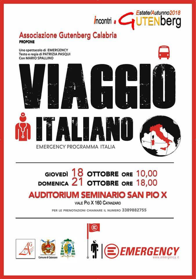 Viaggio Italiano a Catanzaro 18 e 21 ottobre 2018 locandina
