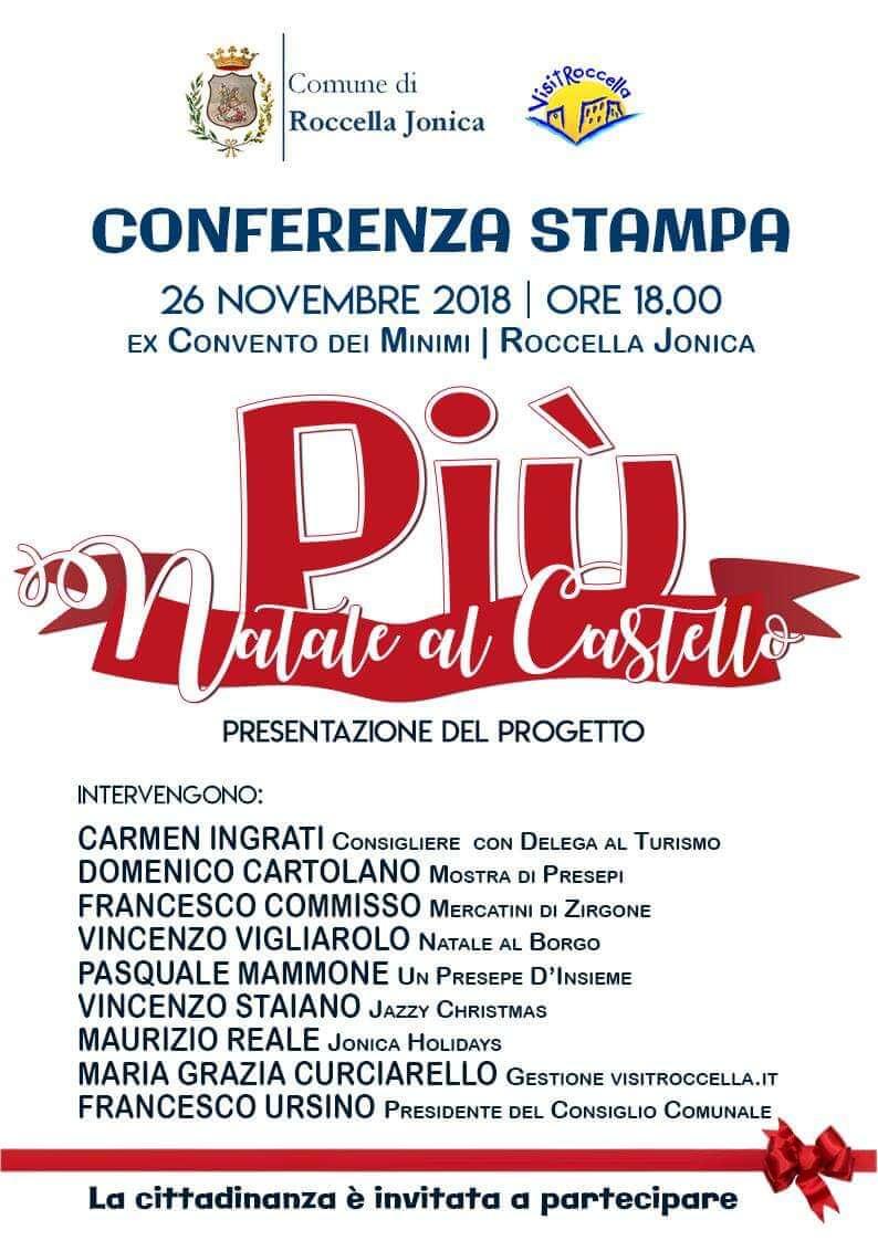 Conferenza Stampa Natale al Castello più a Roccella Ionica 26 novembre 2018 locandina
