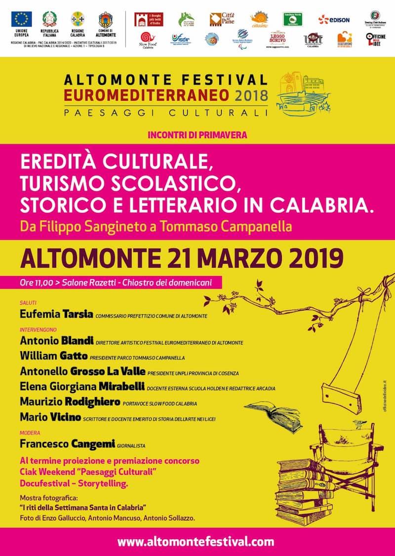 Festival Euromediterrano di Altomonte incontri di primavera 21 marzo 2019