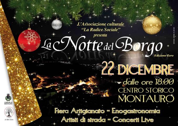 La Notte del Borgo edizione zero, 22 dicembre 2018 a Montauro