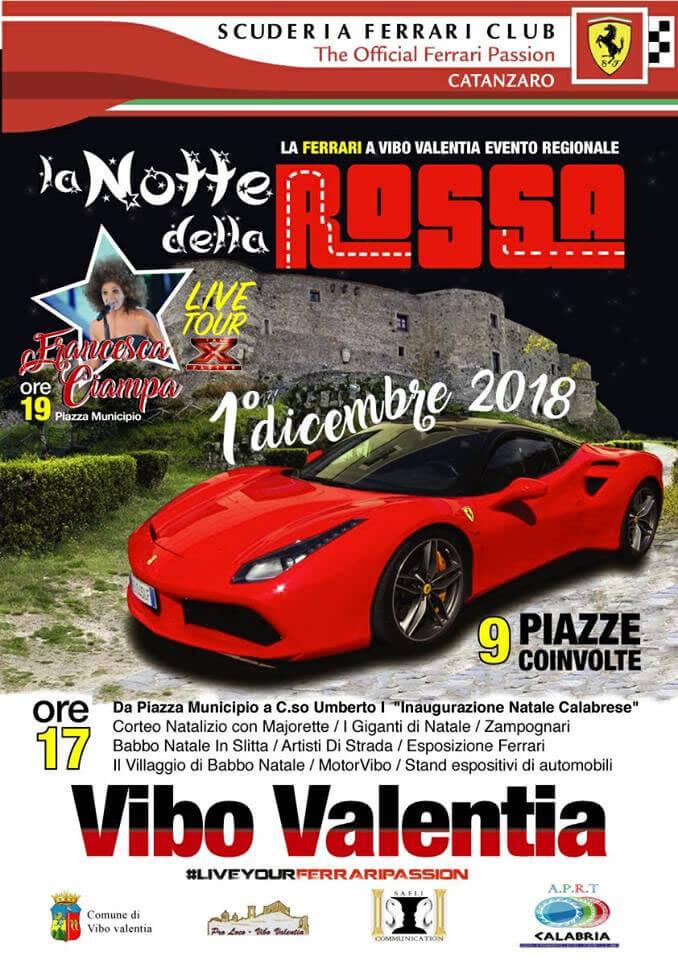 La Notte della Rossa - La Ferrari a Vibo Valentia 1 dicembre 2018 locandina