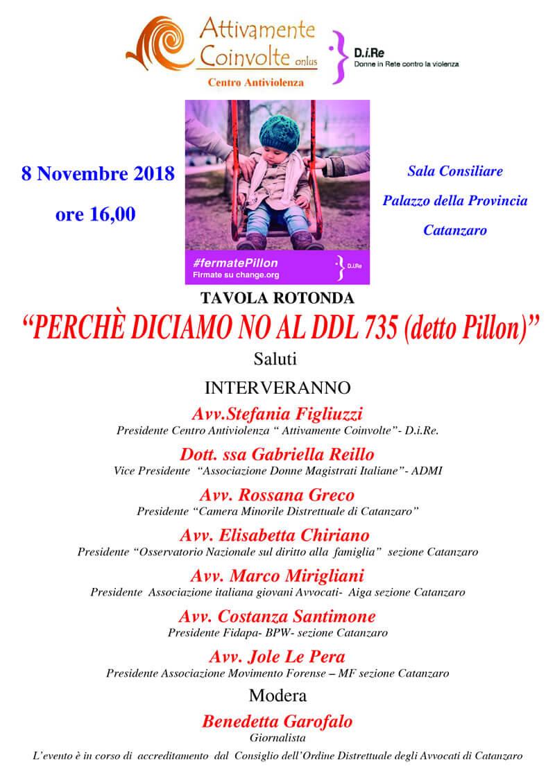 Perché diciamo NO al DDL 735 detto Pillon 8 novembre 2018 a Catanzaro locandina