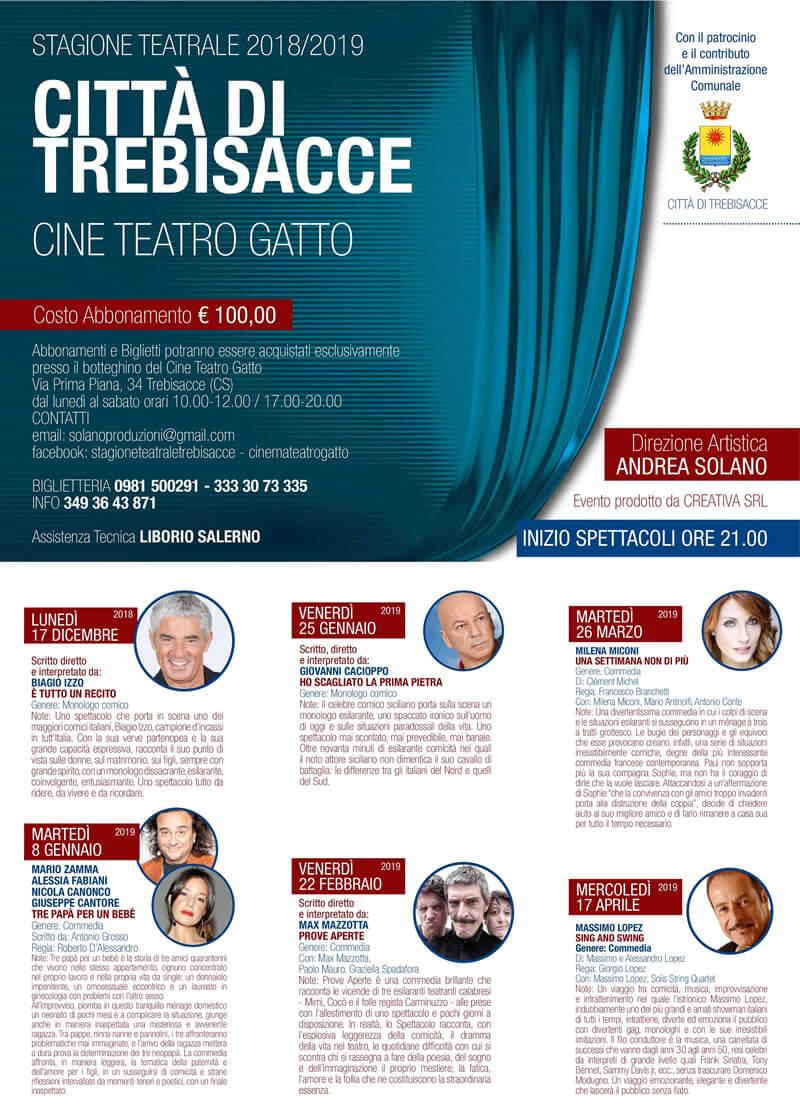 Stagione Teatrale della città di Trebiacce - 2018-2019
