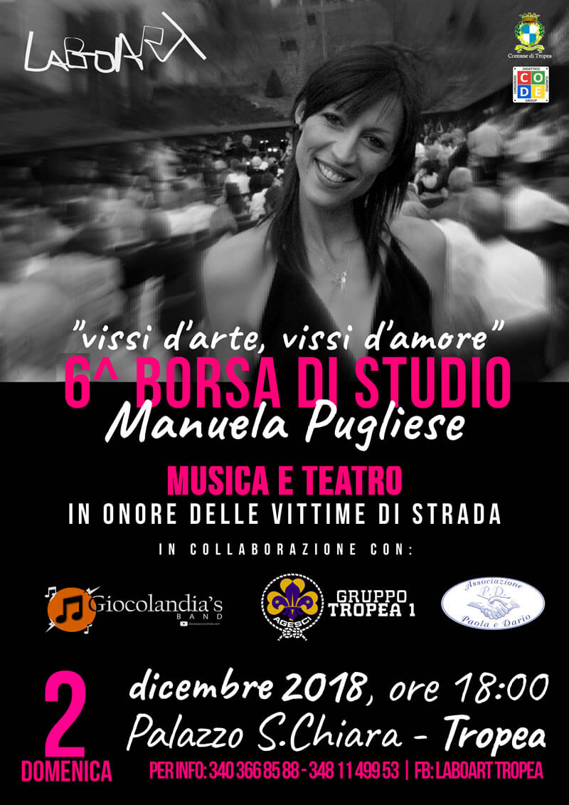 Vissi d'arte, Vissi d'amore 6^ Borsa di Studio Manuela Pugliese 2 dicembre 2018 a Tropea