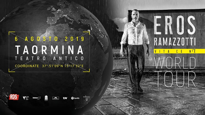 Eros Ramazzotti al Teatro Antico Taormina 6 agosto 2019