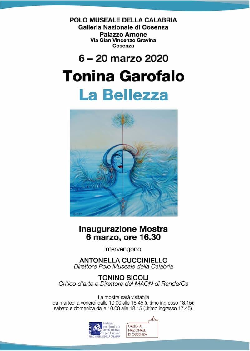 Palazzo Arnone il 6 marzo 2020 verrà inaugurata la mostra La Bellezza di Tonina Garofalo locandina